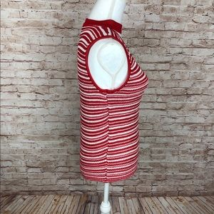 Lucy Paris Sweaters - Lucy Paris, Red/White Striped Sleeveless Sweater L
